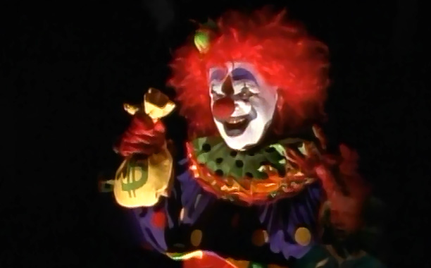 Presenting the number one cause of coulrophobia in children of the '90s: Ghost clown Zeebo, a toothy, unholy amalgam of Bozo and Freddy Krueger. (Like…