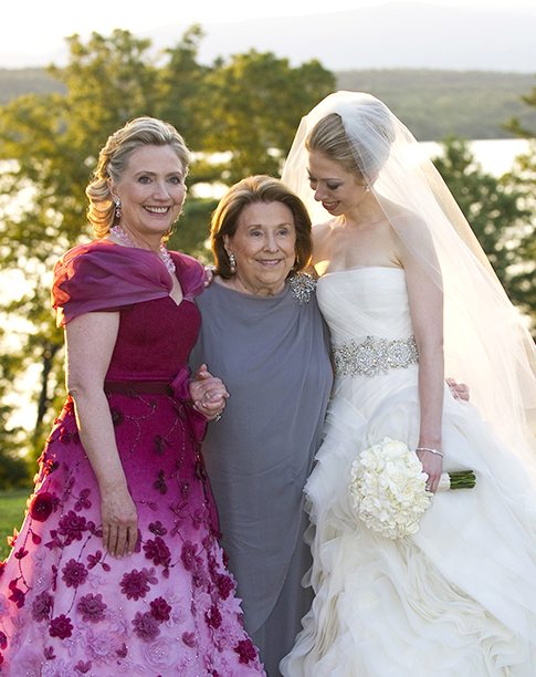 Hillary Rodham Clinton With Dorothy Rodham and Chelsea Clinton at the wedding of Chelsea Clinton and Marc Mezvinsky on July 31, 2010