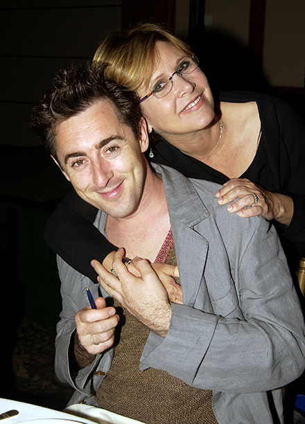 Carrie Fisher With Alan Cumming at amfAR's Honoring With Pride Benefit in New York City on June 26, 2002