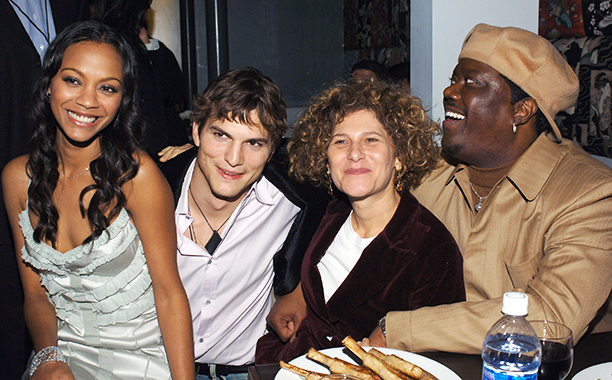 Bernie Mac With Zoe Saldana, Ashton Kutcher, and Amy Pascal at the Guess Who Los Angeles Premiere on March 13, 2005