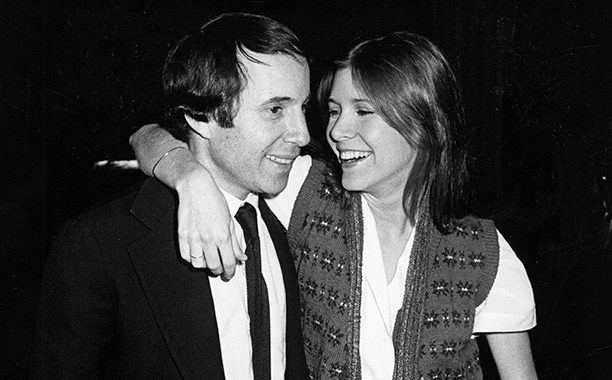Carrie Fisher With Paul Simon at the Goodbye People Opening Party in New York City on April 30, 1979