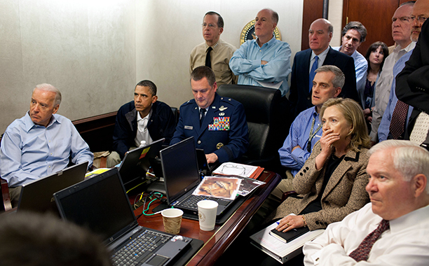 Hillary Rodham Clinton With Barack Obama, Joe Biden, and the National Security Team in the Situation Room on May 1, 2011