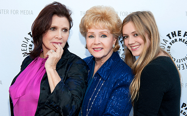 Carrie Fisher With Debbie Reynolds and Billie Lourd at Debbie Reynolds' Hollywood Memorabilia Exhibit Reception on June 7, 2011