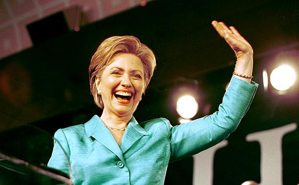 Hillary Rodham Clinton Celebrates Her Senate Victory in New York City on November 7, 2000