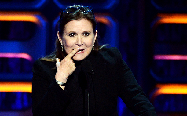 Carrie Fisher at the Comedy Central Roast of Roseanne Barr in Hollywood on August 4, 2012