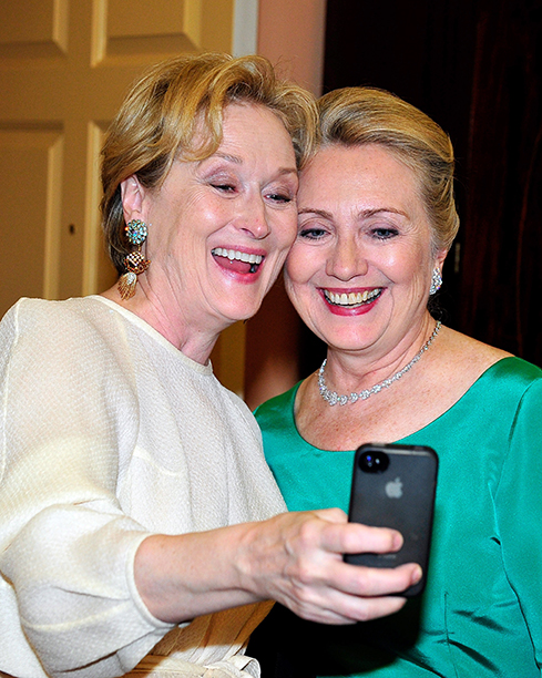 Hillary Rodham Clinton With Meryl Streep at a Dinner for Kennedy Honorees in Washington, D.C. on December 1, 2012