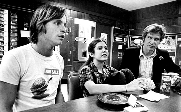Carrie Fisher With Mark Hamill and Harrison Ford on June 15, 1977