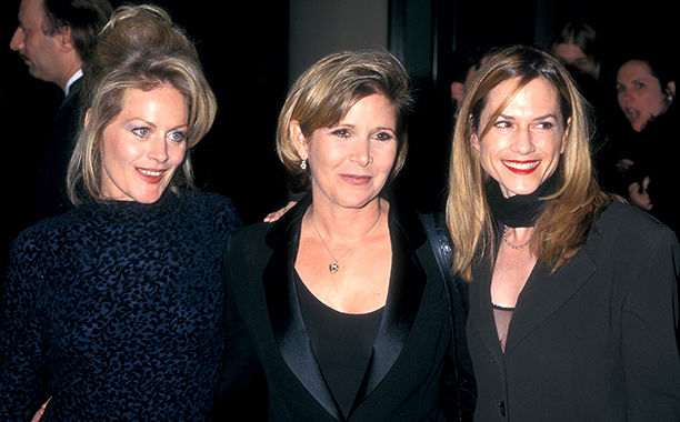 Carrie Fisher With Beverly D'Angelo and Holly Hunter at the Third Annual Premiere Women in Hollywood Luncheon on December 2, 1996