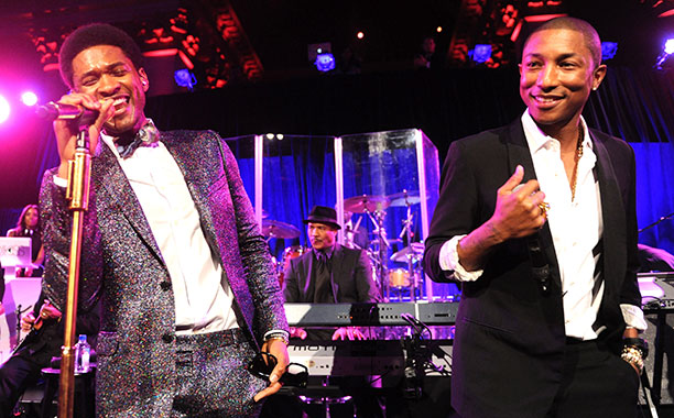 Usher With Pharrell Williams at Gabrielle's Angel Foundation's Angel Ball 2013 in New York City on October 29, 2013