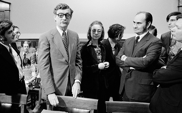 Hillary Rodham With John Doar in the Judiciary Committee Hearing Room at the U.S. Capitol in 1974