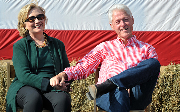 Hillary Rodham Clinton With Bill Clinton at the 37th Harkin Steak Fry in Indianola, Iowa on September 14, 2014