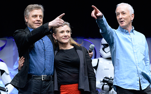 Carrie Fisher With Mark Hamill and Anthony Daniels at Disney's Star Wars Celebration 2015 on April 16, 2015