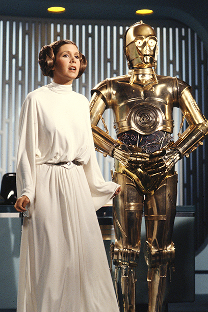 Carrie Fisher as Princess Leia With Anthony Daniels as C-3PO in The Star Wars Holiday Special on August 23, 1978