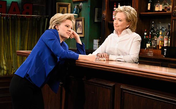 Hillary Rodham Clinton With Kate McKinnon on Saturday Night Live on October 3, 2015