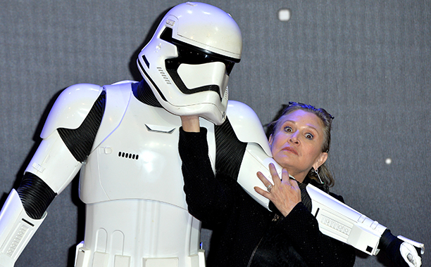 Carrie Fisher at the European Premiere of Star Wars: The Force Awakens in London on December 16, 2015