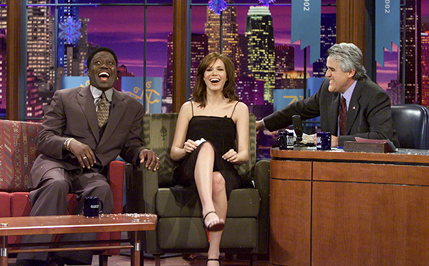 Bernie Mac With Mandy Moore on The Tonight Show with Jay Leno on February 8, 2002