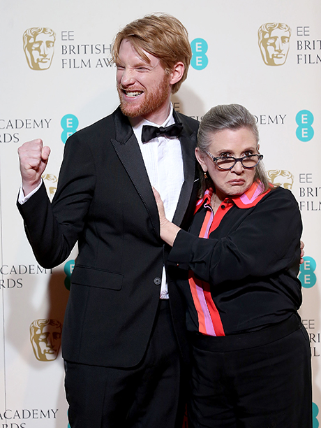 Carrie Fisher With Domhnall Gleeson at the EE British Academy Film Awards in London on February 14, 2016