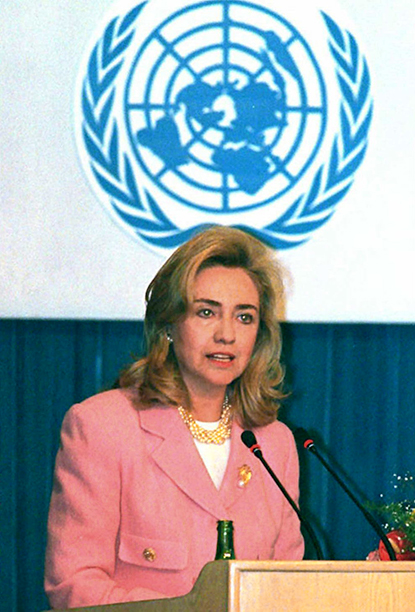 Hillary Rodham Clinton at the at the UN Fourth World Conference on Women in Beijing on September 5, 1995