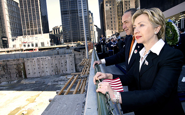 Hillary Rodham Clinton With Charles Schumer at a Wreath Laying Ceremony on September 6, 2002