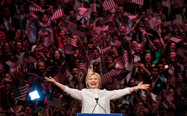 Hillary Rodham Clinton at a Primary Night Rally in Brooklyn on June 7, 2016