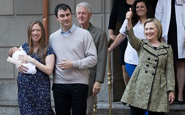 Hillary Rodham Clinton With Chelsea Clinton, Aidan Mezvinsky, Marc Mezvinsky, and Bill Clinton in New York City on June 20, 2016