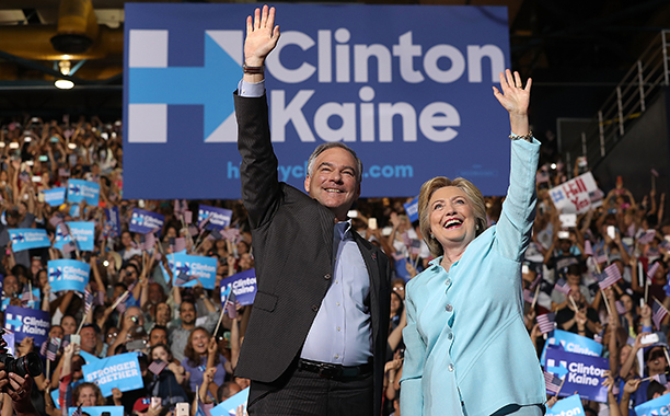 Hillary Rodham Clinton With Tim Kaine at a Campaign Rally in Miami on July 23, 2016