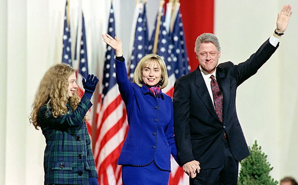 Hillary Rodham Clinton With Bill Clinton and Chelsea Clinton at the Old State House in Little Rock on November 3, 1992