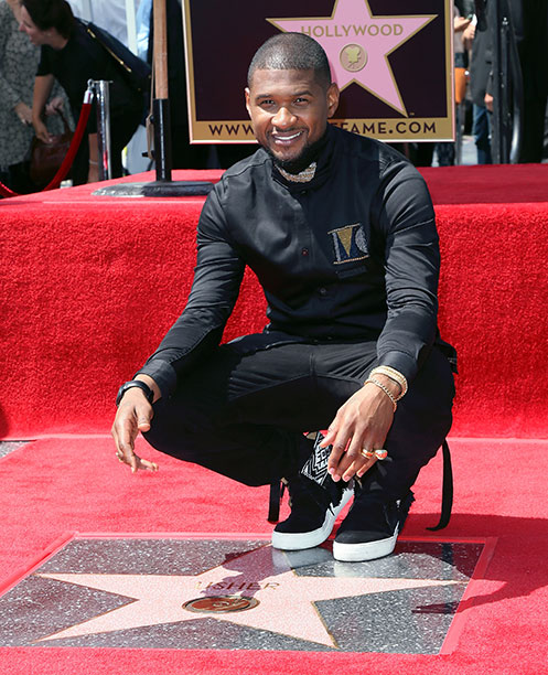Usher at the Hollywood Walk of Fame on September 7, 2016