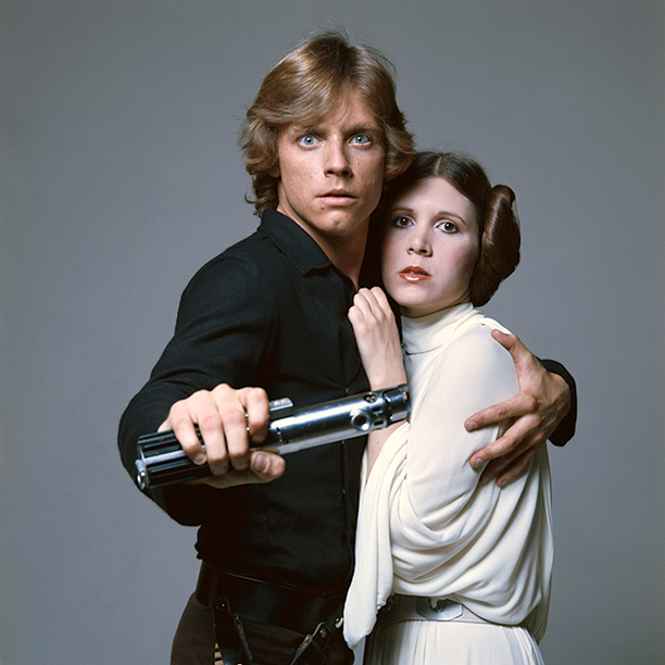 Carrie Fisher With Mark Hamill in Star Wars in 1977