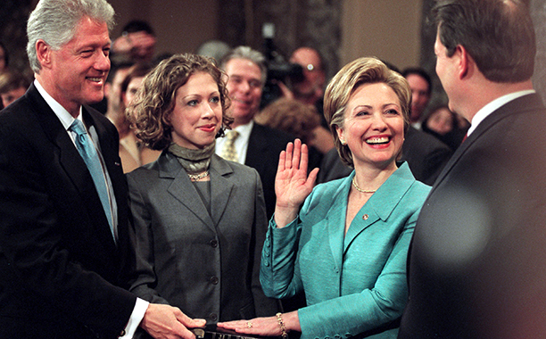 Hillary Rodham Clinton With Chelsea Clinton, Bill Clinton, and Al Gore in the Old Senate Chamber on January 3, 2001