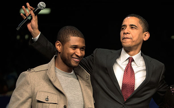 Usher With Barack Obama at a Campaign Event at South Carolina State University on January 22, 2008
