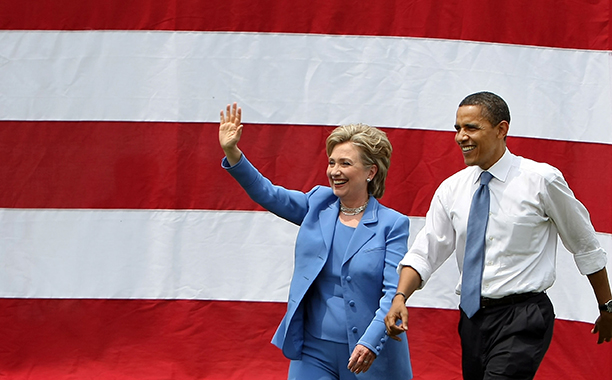Hillary Rodham Clinton With Barack Obama in Unity, New Hampshire on June 27, 2008