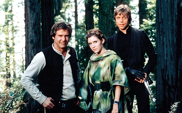 Carrie Fisher With Harrison Ford and Mark Hamill in Star Wars: Episode VI - Return of the Jedi in 1983