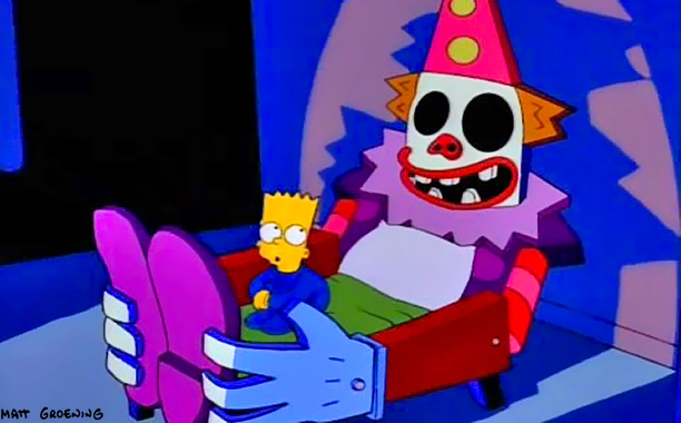 Imagine falling asleep with a maniacal clown staring back at you every night. That's what gives little Bart vivid hallucinations after Homer builds him a…