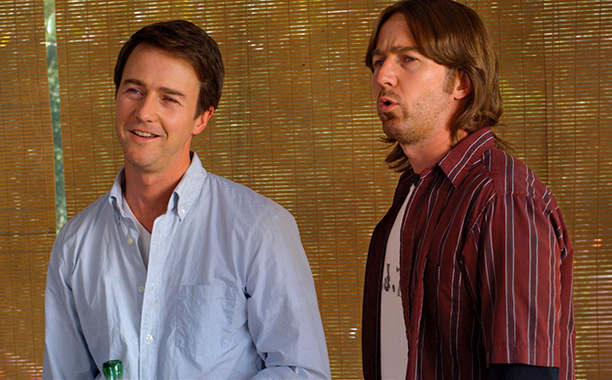 Edward Norton as Bill and Brady Kincaid in Leaves of Grass