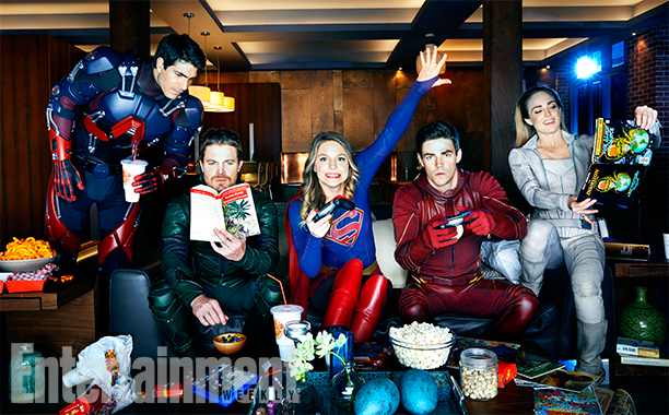 Brandon Routh (The Atom), Stephen Amell (Green Arrow), Melissa Benoist (Supergirl), Grant Gustin (The Flash), and Caity Lotz (White Canary)