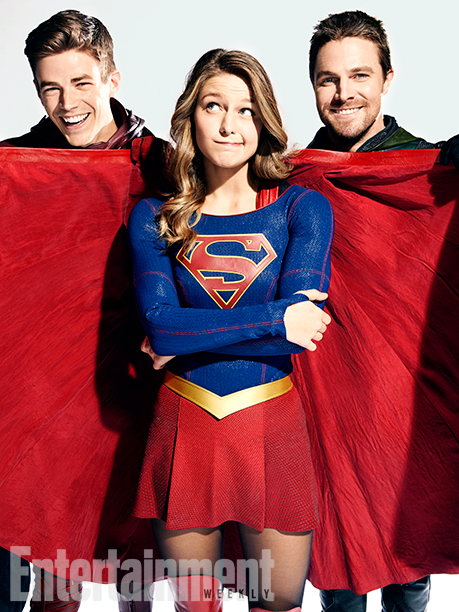 Grant Gustin (The Flash), Melissa Benoist (Supergirl), and Stephen Amell (Green Arrow)