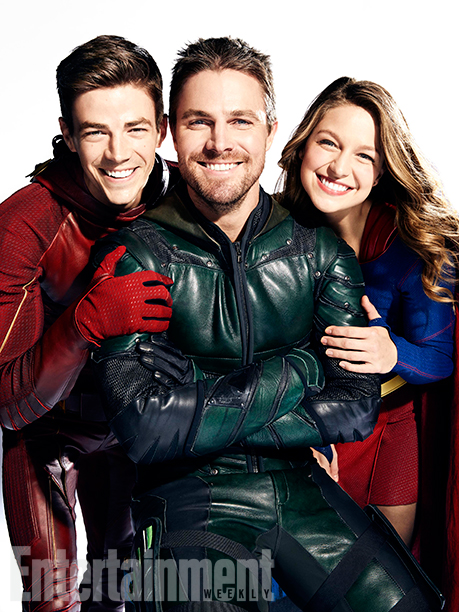 Grant Gustin (The Flash), Stephen Amell (Green Arrow), and Melissa Benoist (Supergirl)