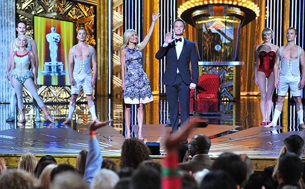 Kelly Ripa and Neil Patrick Harris on Live! with Kelly in February 2012