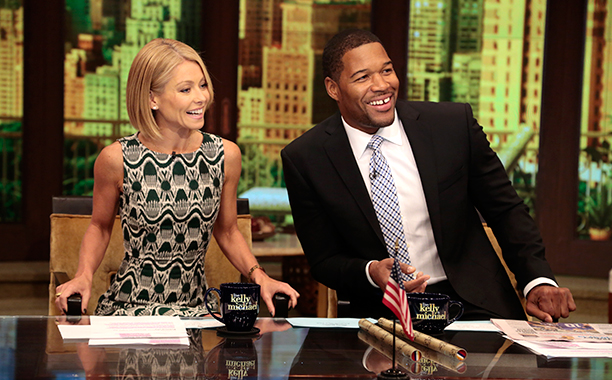 Kelly Ripa and Michael Strahan on Live! with Kelly and Michael on October 7, 2013