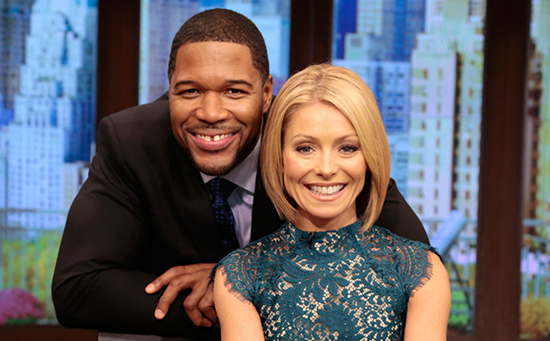 Michael Strahan and Kelly Ripa on Live! with Kelly and Michael on October 21, 2013