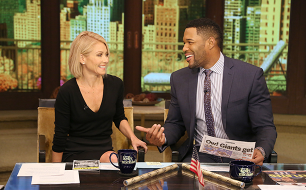 Kelly Ripa and Michael Strahan on Live! with Kelly and Michael on November 16, 2015