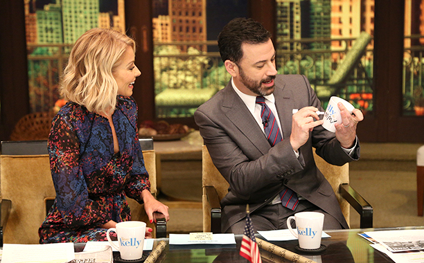 Kelly Ripa and Jimmy Kimmel on Live with Kelly in 2016