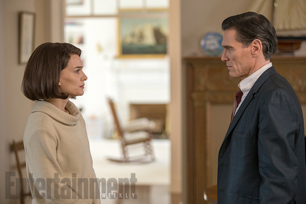 Billy Crudup as Theodore H. White and Natalie Portman as Jacqueline Kennedy in 'Jackie'