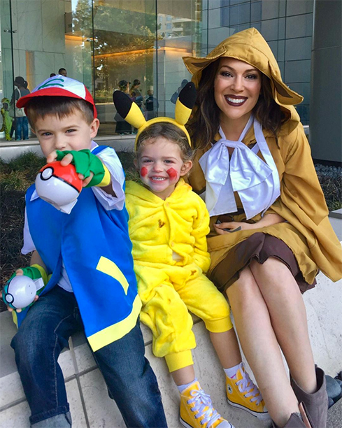 Alyssa Milano and Her Children as Pokémon GO