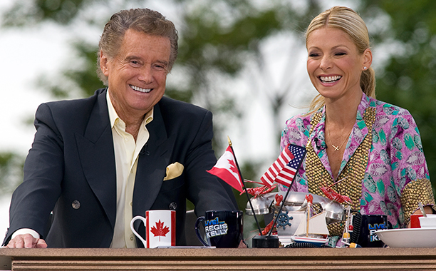 Regis Philbin and Kelly Ripa on Live! with Regis and Kelly on July 12, 2010