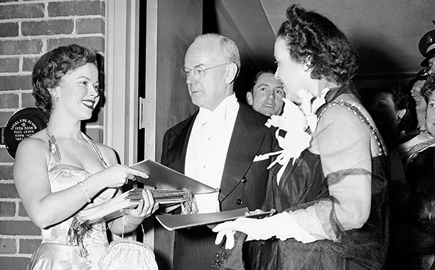 Shirley Temple at Harry S. Truman's 1949 Inaugural Ball With Treasury Secretary John W. Snyder and His Wife Evlyn Cook Snyder