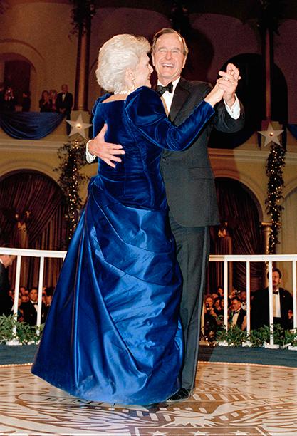 George H.W. Bush and Barbara Bush at George H.W. Bush's Inaugural Ball in 1989