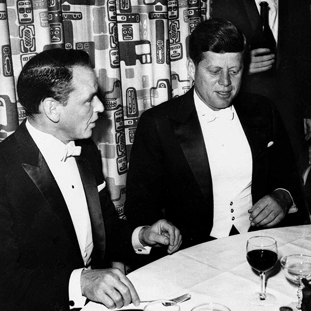 Frank Sinatra and John F. Kennedy at John F. Kennedy's 1961 Inaugural Ball