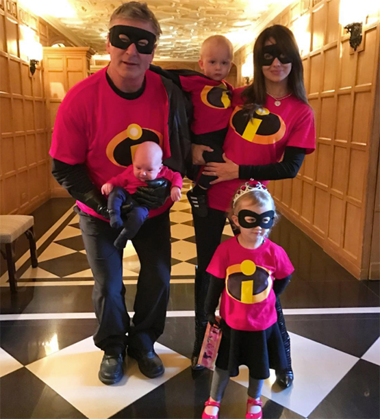 Alec Baldwin, Leonardo, Rafael, Hilaria Baldwin, and Carmen as The Incredibles